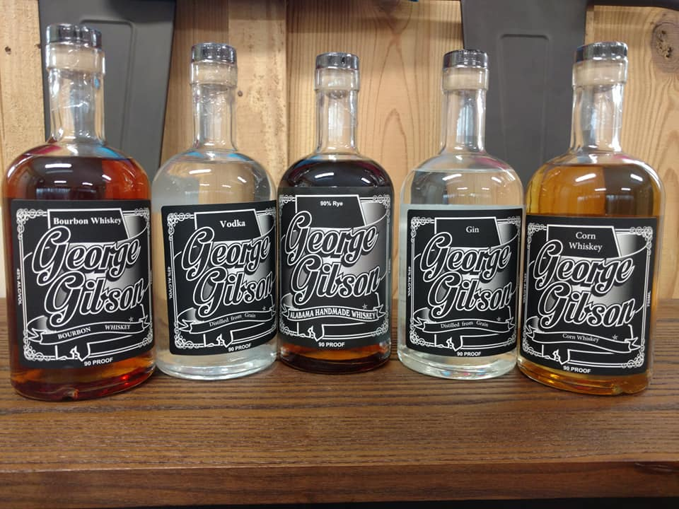Gibson Spirits lineup Bourbon, Rye, Corn, Gin and Vodka